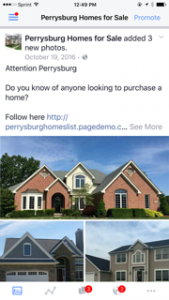 Facebook ad for the Perrysburg homes campaign
